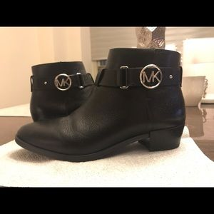 Michael Kors Harland Leather Block Heel Booties